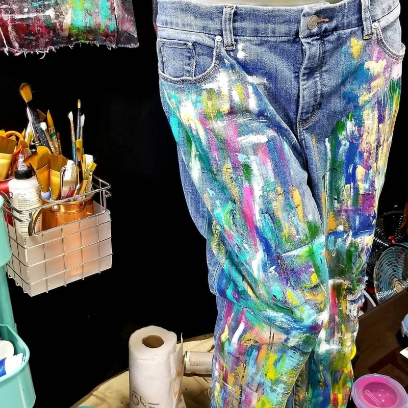 Inspirational Abstract Painted Denim
