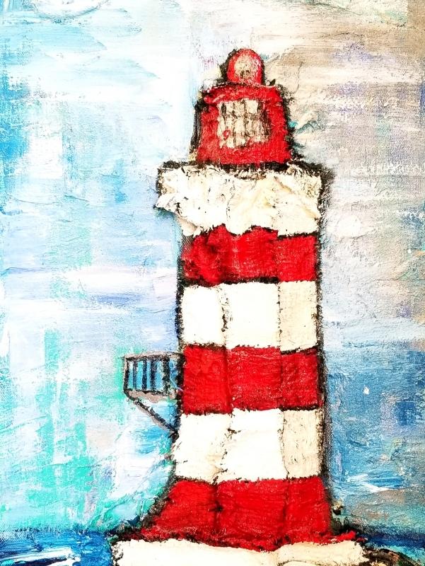 SOLD| Sea Brooke Breakwater Lighthouse  | 24 x 12 |